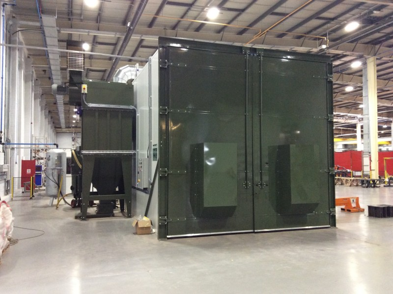 PIR panels for shot blast chamber