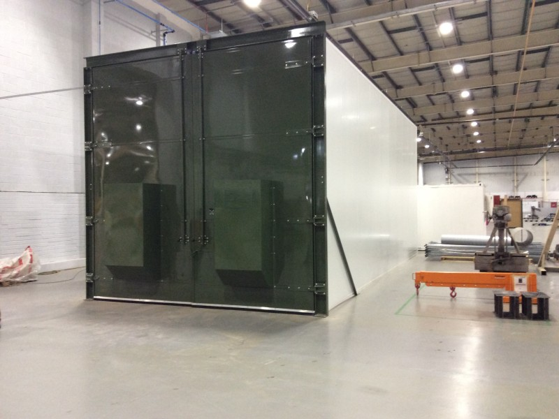 PIR insulated panels for shot blast chamber