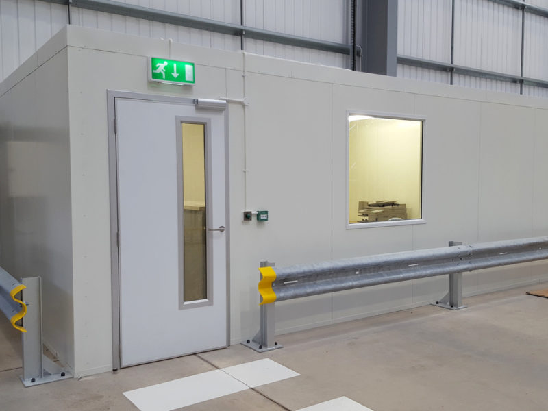 Fire rated partitions for distribution warehouse offices