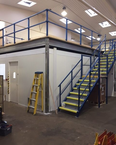 Completed fire rated bakery on site under mezzanine floor