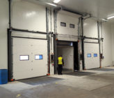Loading bay doors in chilled area of food facility