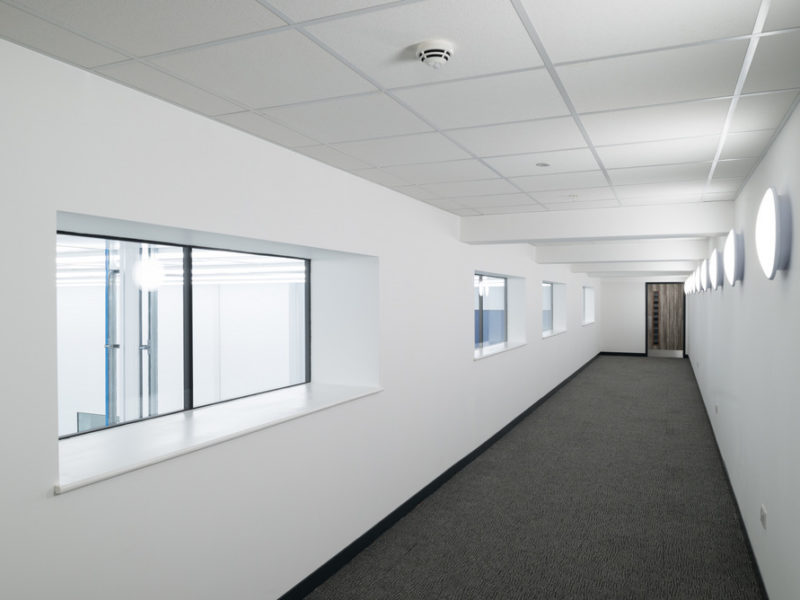 Cleanroom panels in viewing gallery for aeronautical research