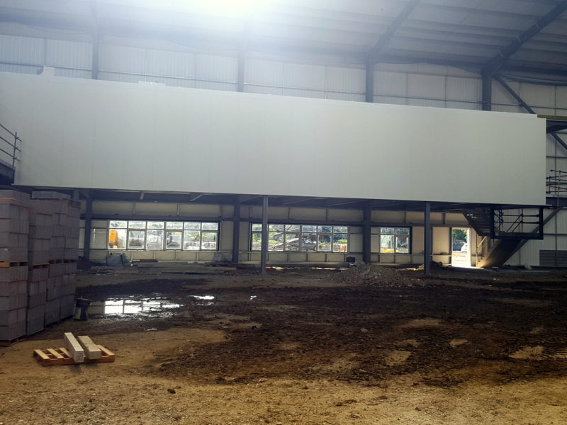 Fire rated panels to form offices in supermarket warehouse