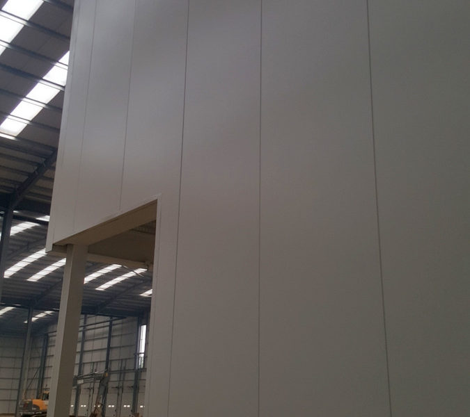 Constructing fire-rated panels for warehouse offices