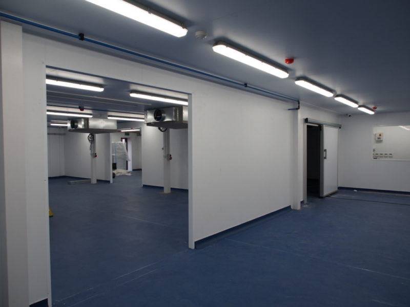 Hygienic panels and doors for seafood factory