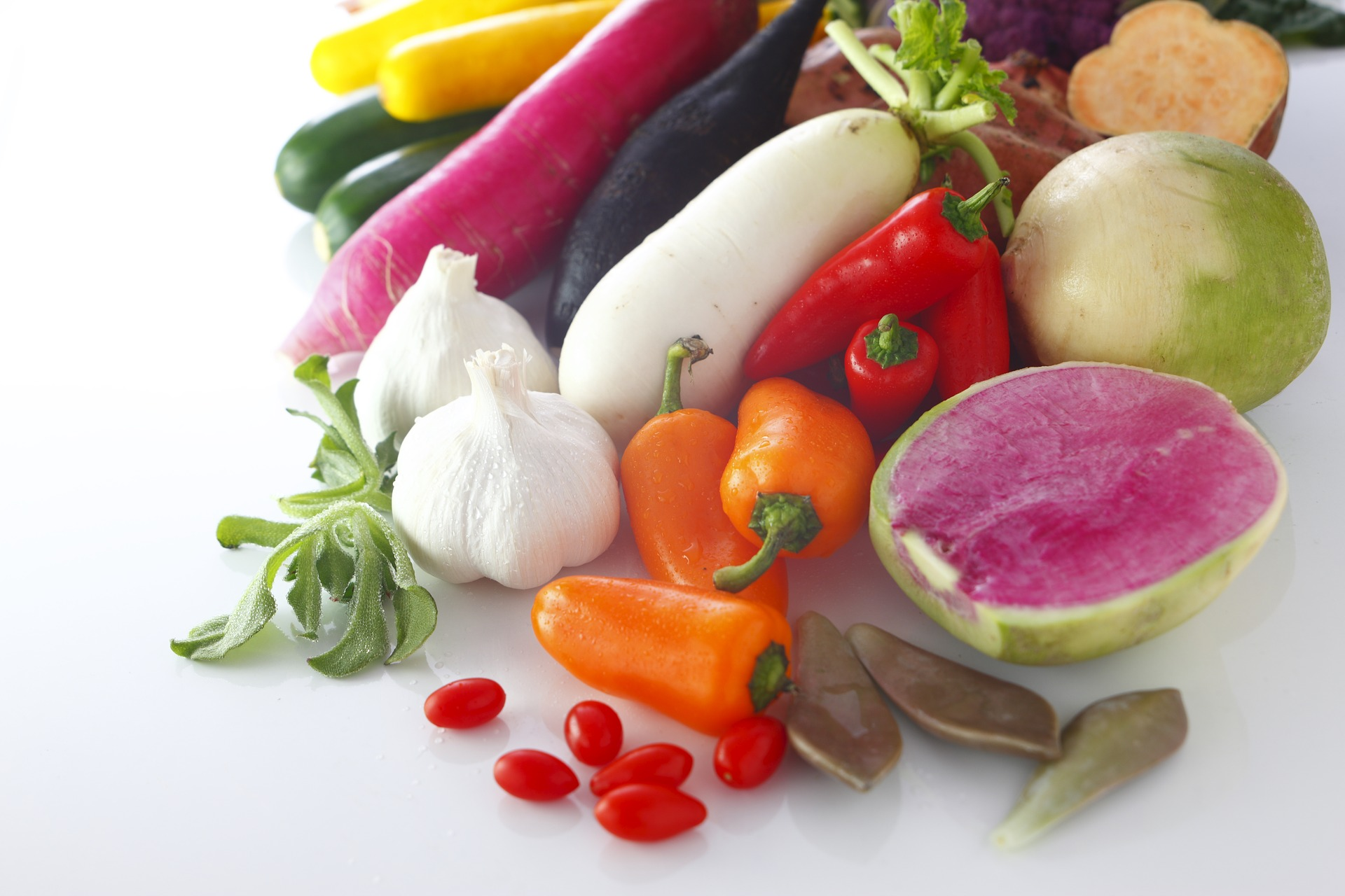 Arranged collection of fruit and vegetables