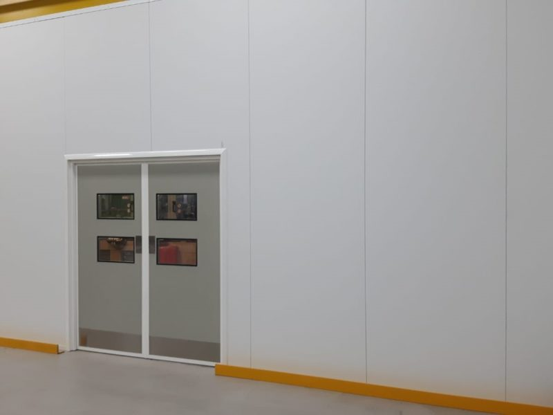 Cleanroom partitions with hinged personnel door
